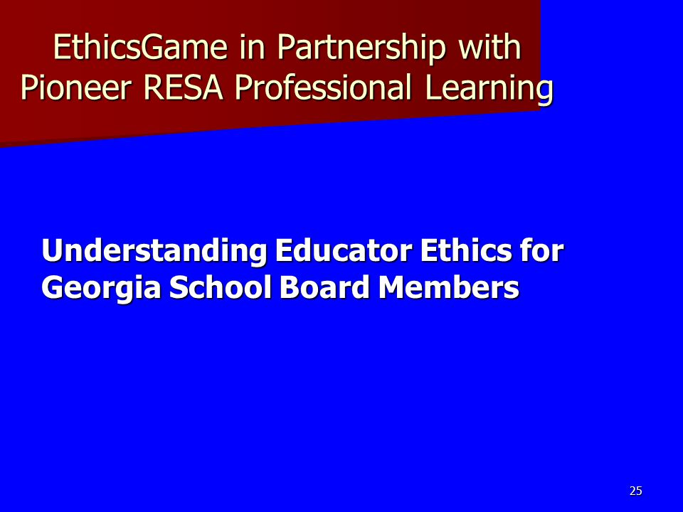 EthicsGame in Partnership with Pioneer RESA Professional Learning