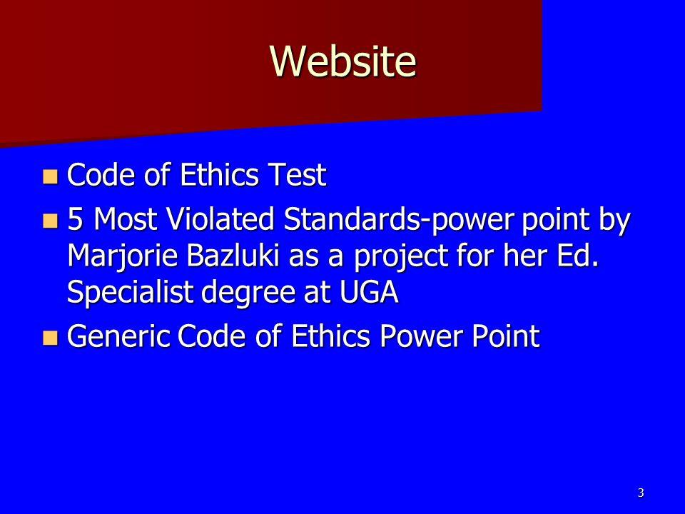 Website Code of Ethics Test