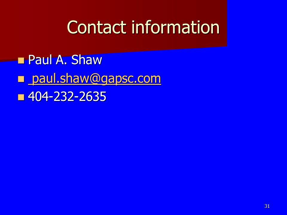 Contact information Paul A. Shaw paul.shaw@gapsc.com 404-232-2635