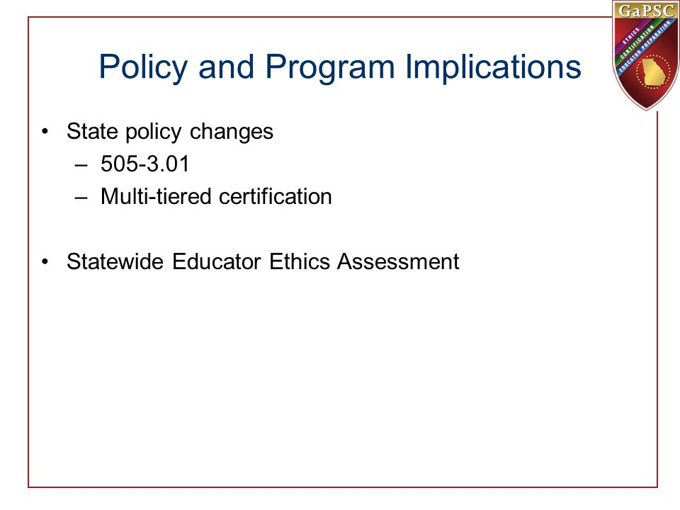Policy and Program Implications