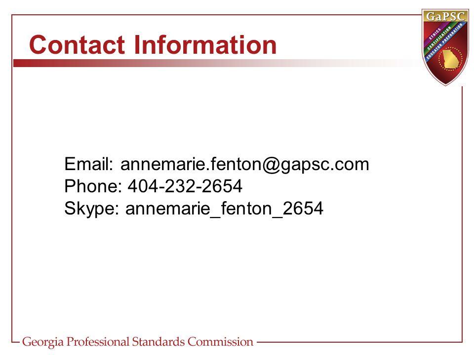 Contact Information Email: annemarie.fenton@gapsc.com. Phone: 404-232-2654. Skype: annemarie_fenton_2654.