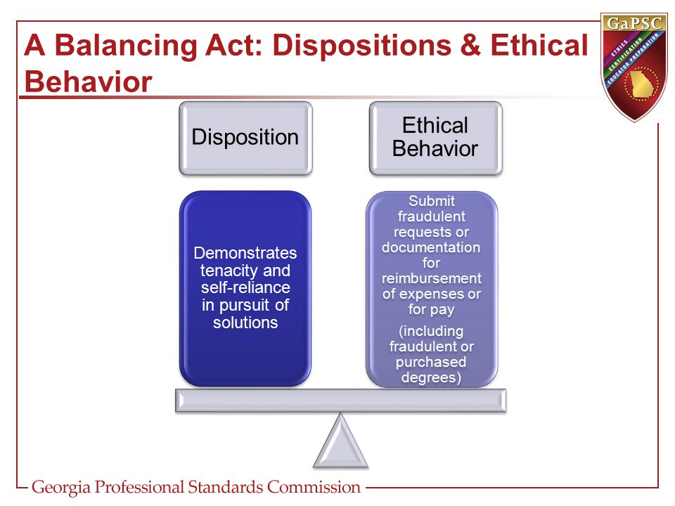 A Balancing Act: Dispositions & Ethical Behavior