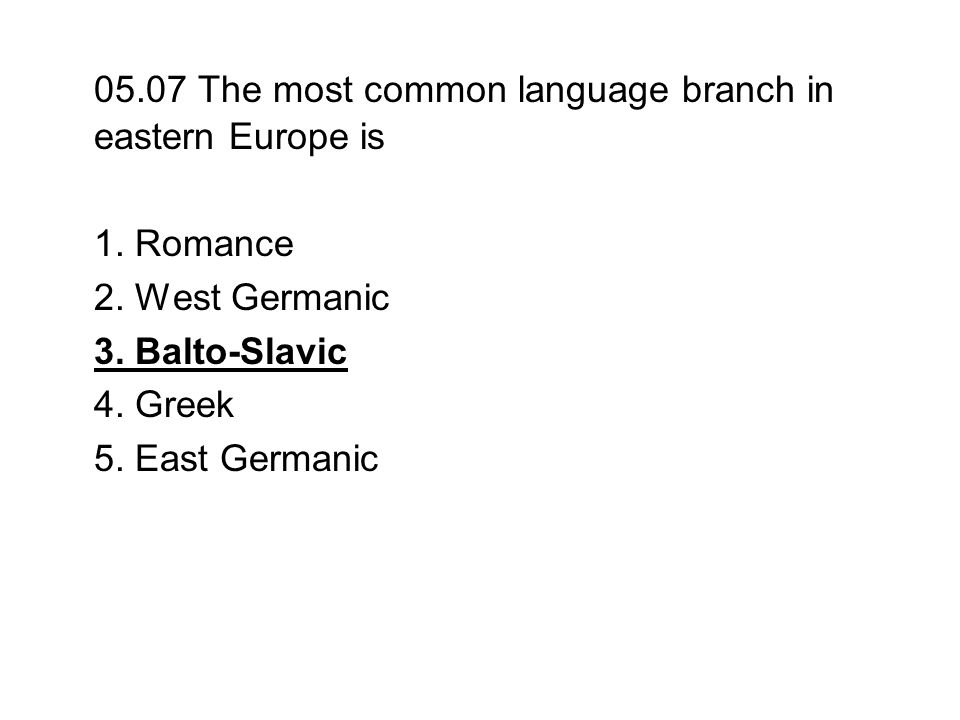 05.07 The most common language branch in eastern Europe is