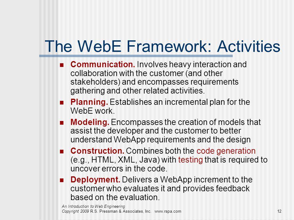 The WebE Framework: Activities