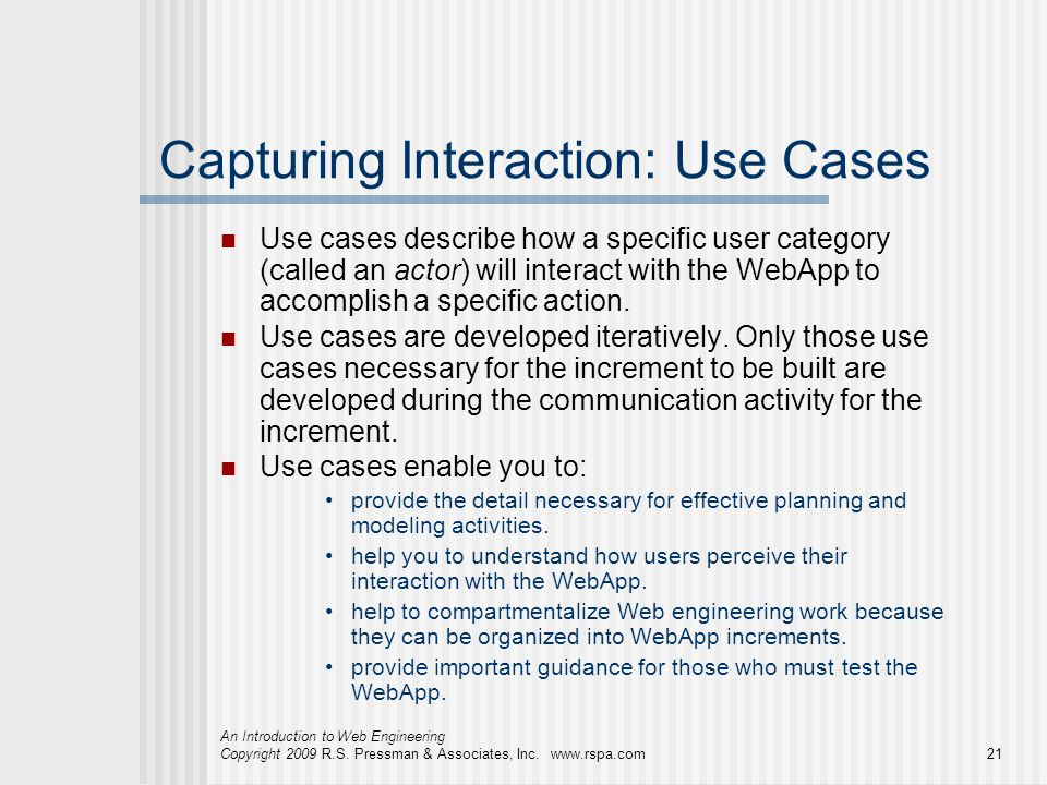 Capturing Interaction: Use Cases