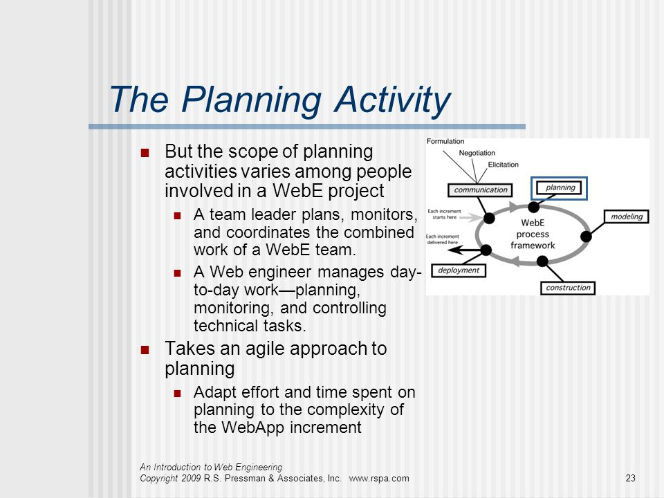 The Planning Activity But the scope of planning activities varies among people involved in a WebE project.