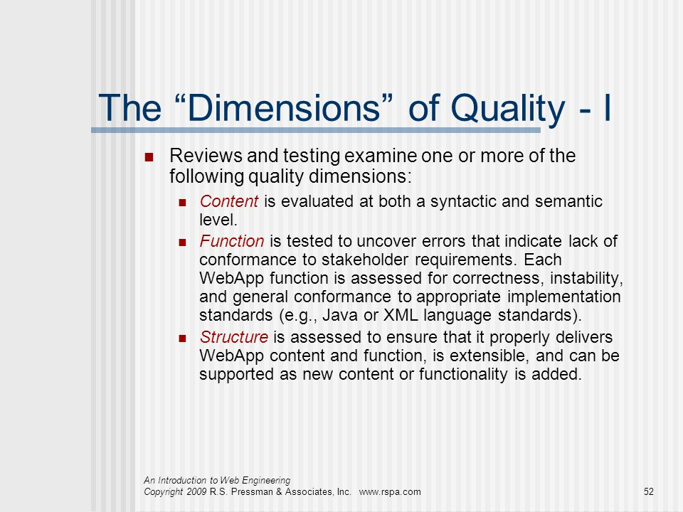 The Dimensions of Quality - I