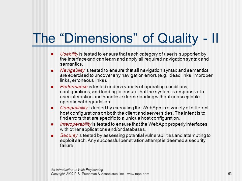 The Dimensions of Quality - II