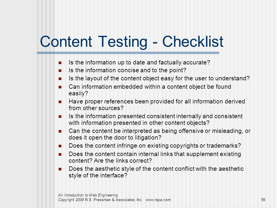 Content Testing - Checklist