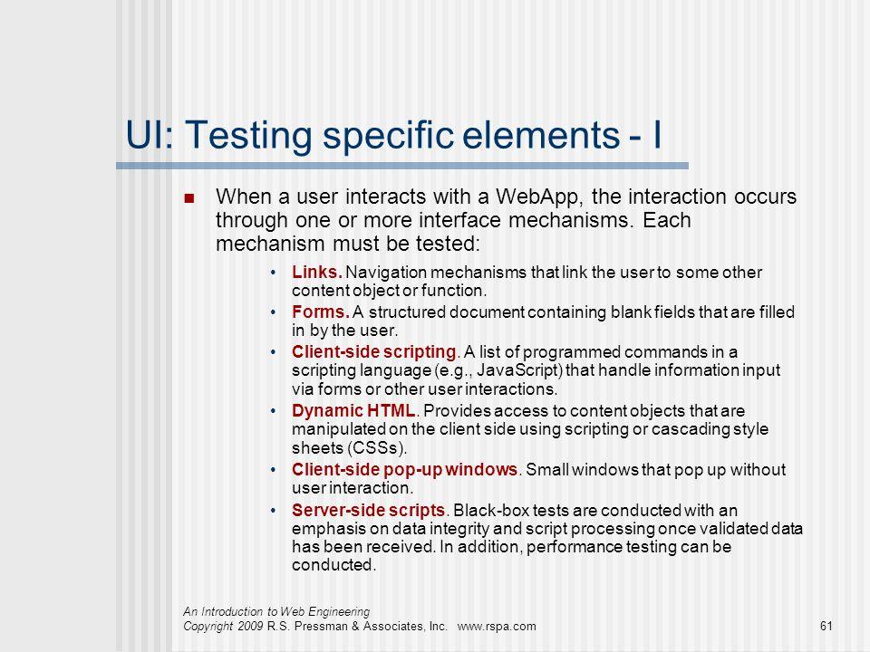 UI: Testing specific elements - I