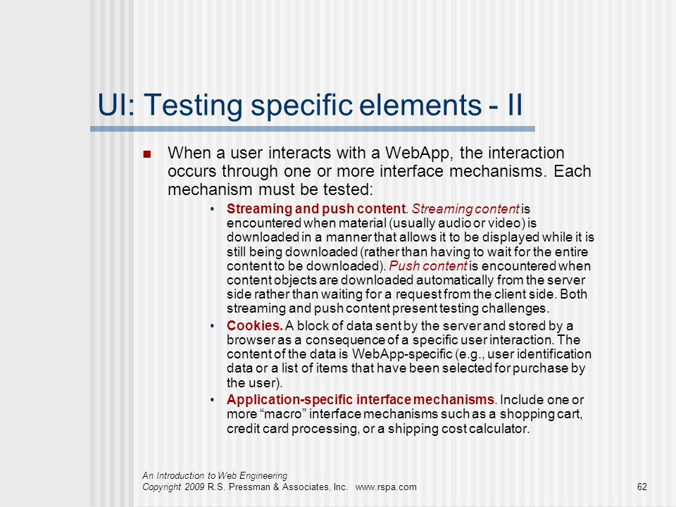 UI: Testing specific elements - II