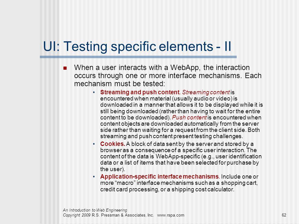UI: Testing specific elements - II