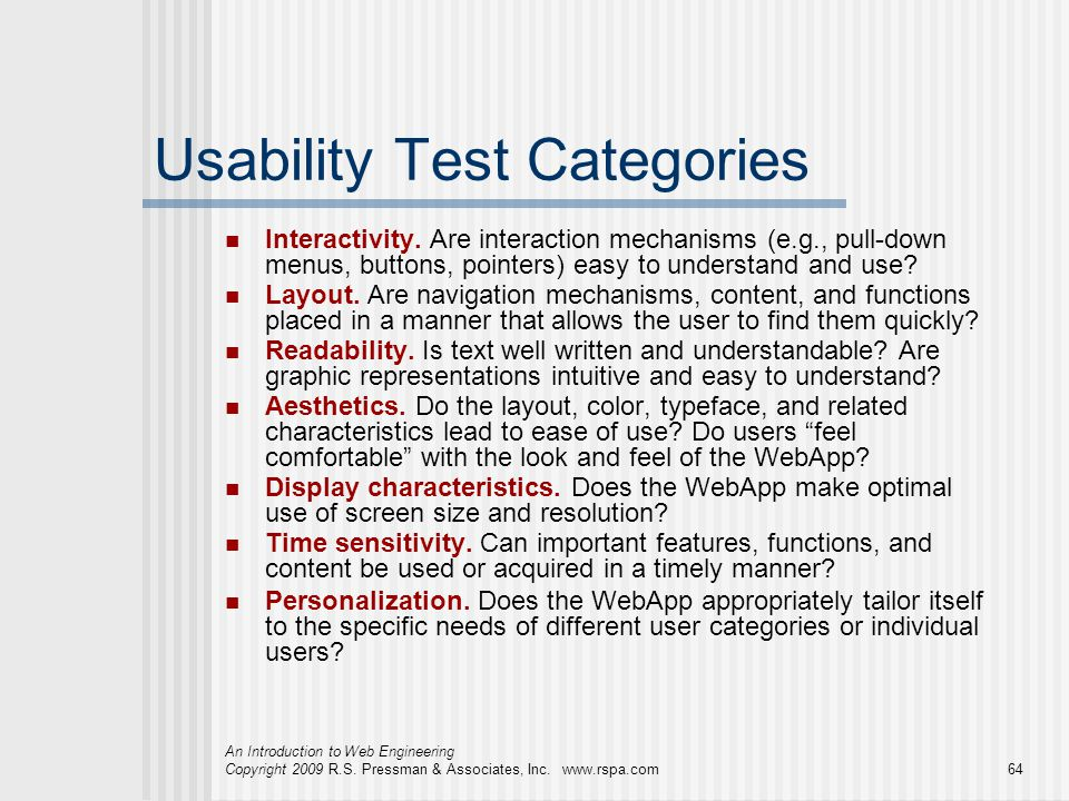 Usability Test Categories