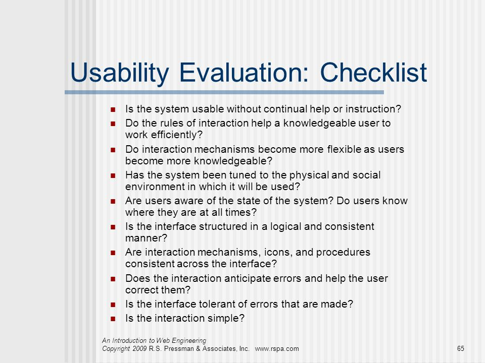 Usability Evaluation: Checklist