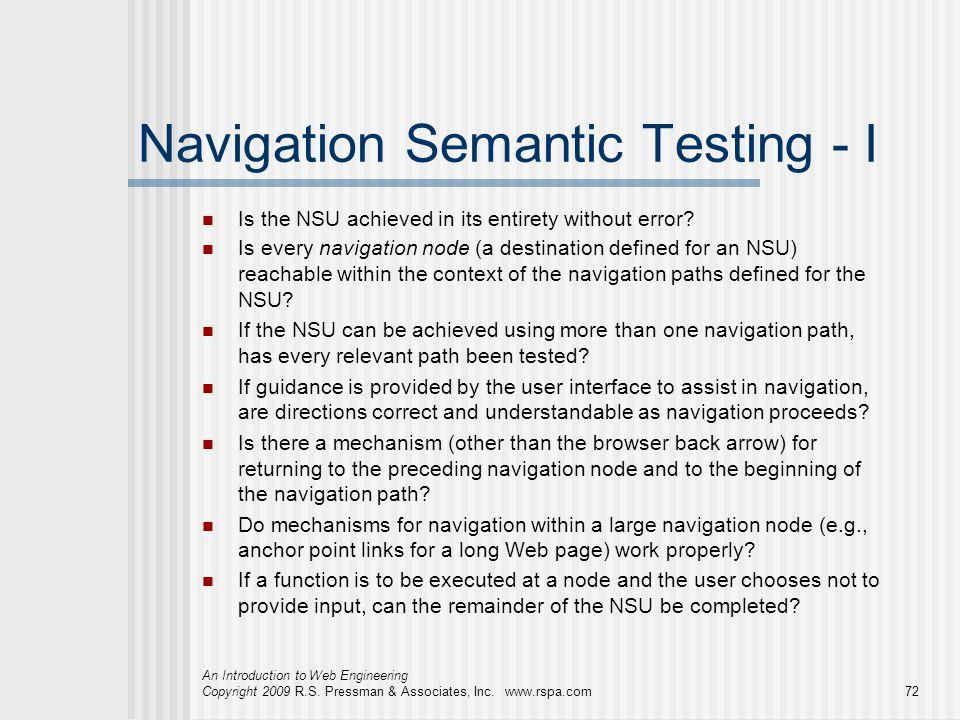 Navigation Semantic Testing - I