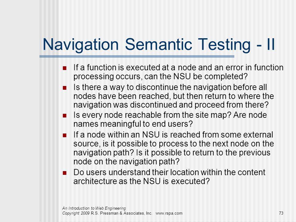 Navigation Semantic Testing - II