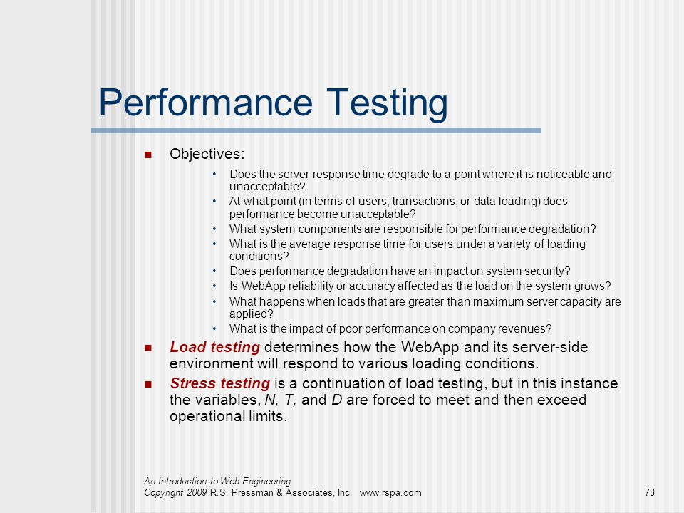 Performance Testing Objectives: