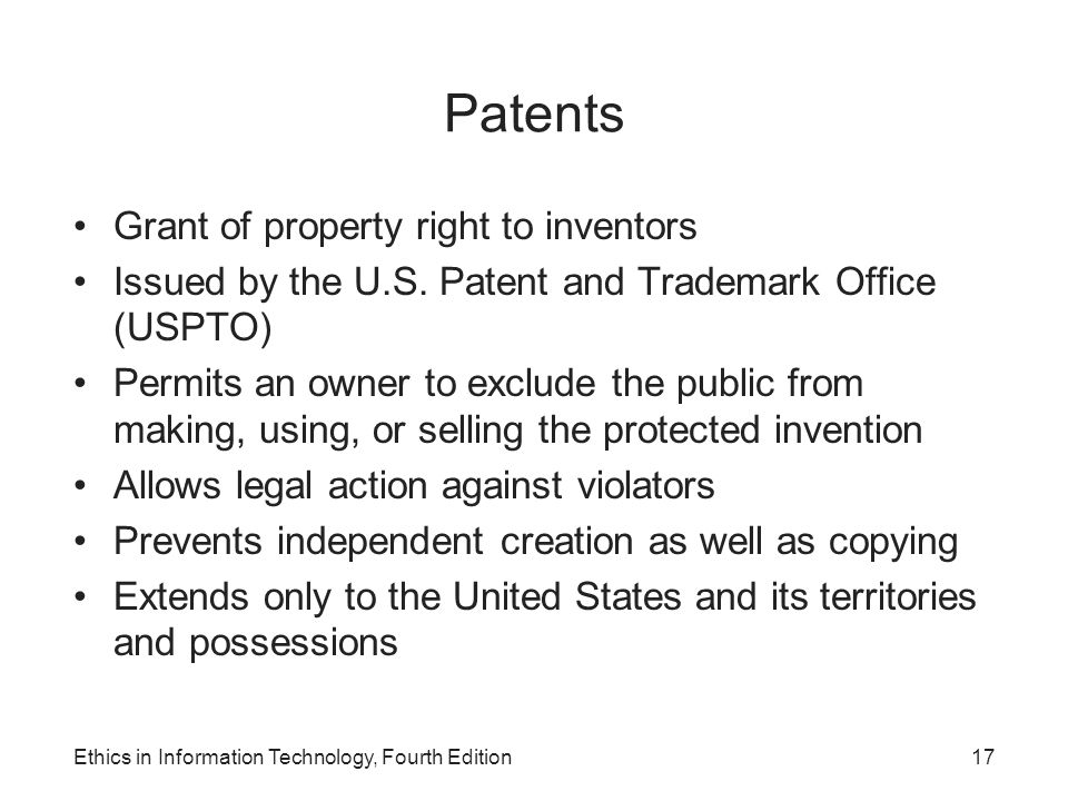 Patents Grant of property right to inventors