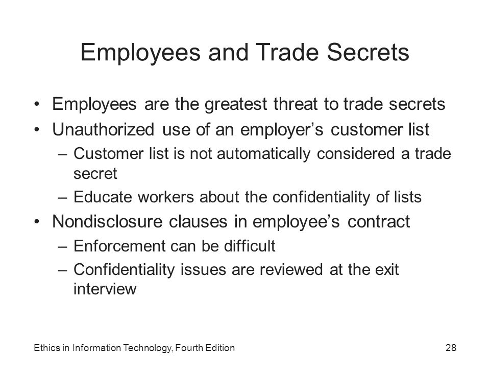 Employees and Trade Secrets