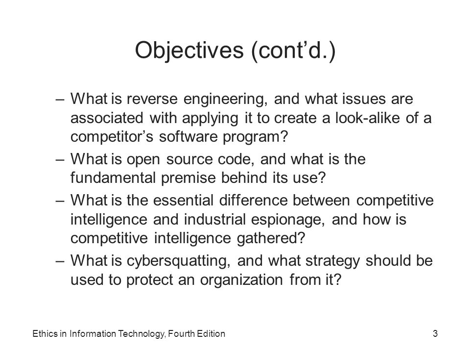 Objectives (cont'd.)