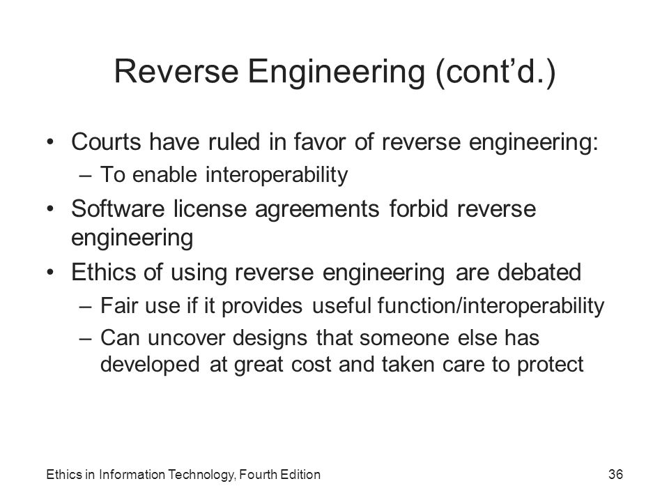 Reverse Engineering (cont'd.)