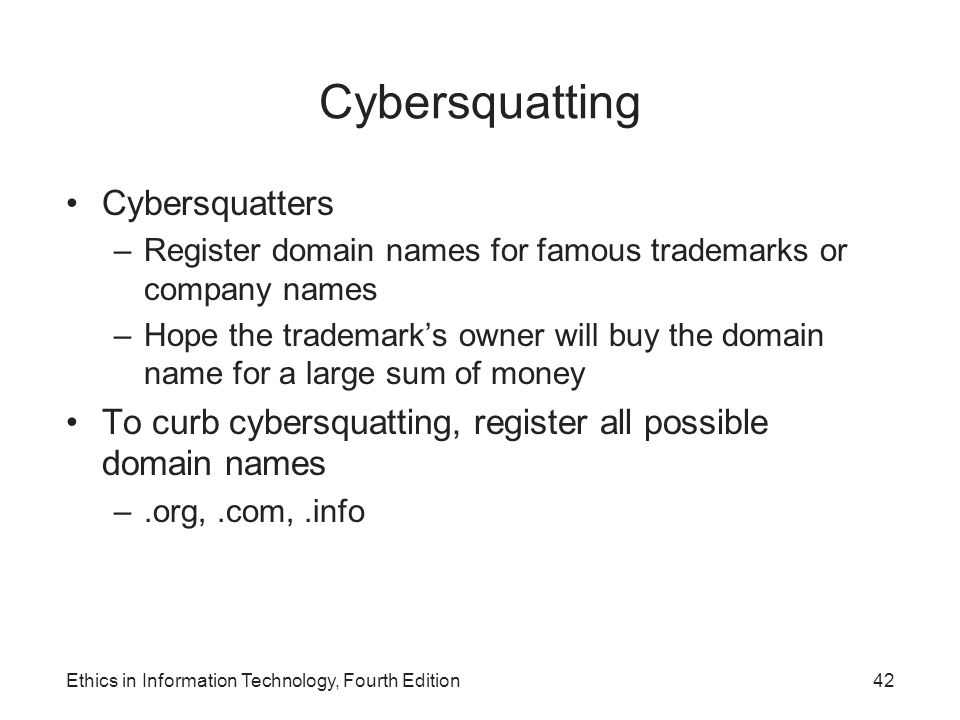 Cybersquatting Cybersquatters