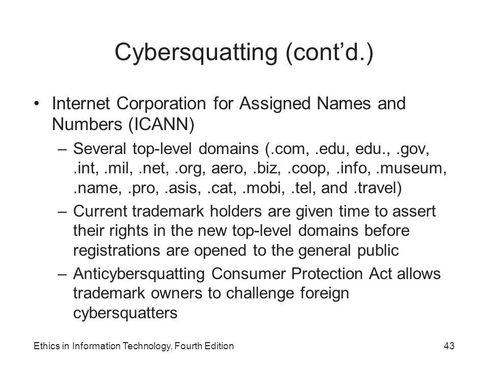 Cybersquatting (cont'd.)