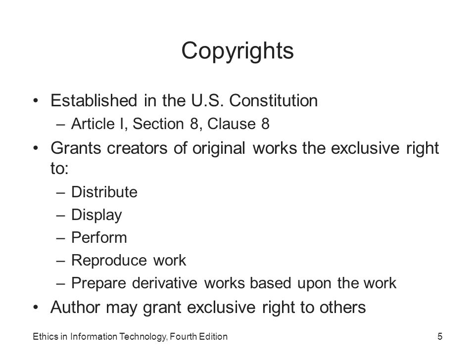 Copyrights Established in the U.S. Constitution