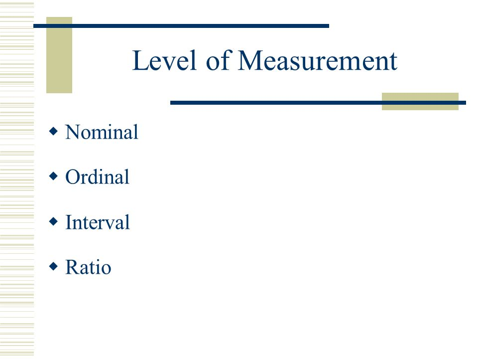 Level of Measurement Nominal Ordinal Interval Ratio