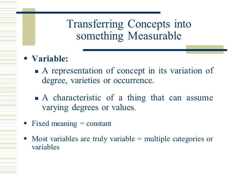 Transferring Concepts into something Measurable