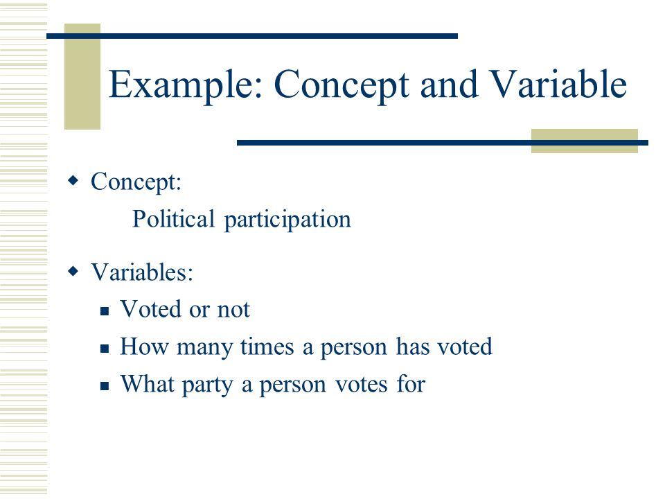 Example: Concept and Variable