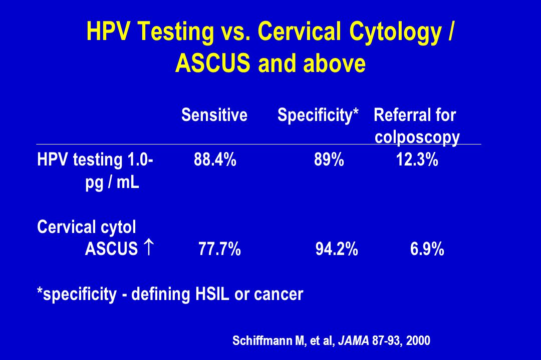 HPV Testing vs. Cervical Cytology / ASCUS and above