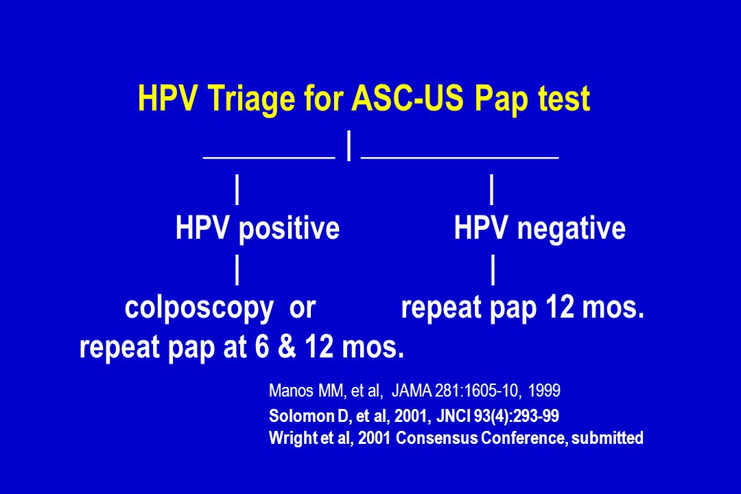 HPV Triage for ASC-US Pap test ________ | ____________ | |