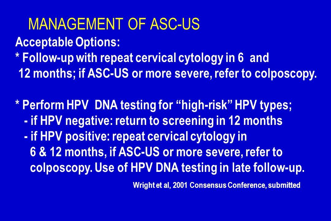 MANAGEMENT OF ASC-US Acceptable Options:
