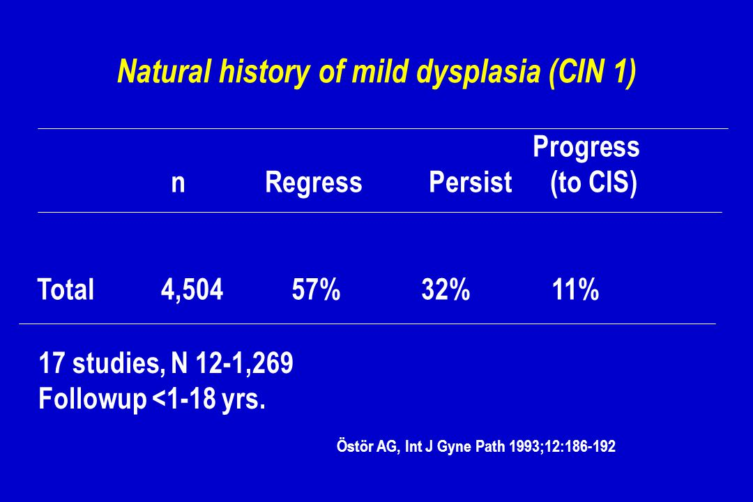 Natural history of mild dysplasia (CIN 1)