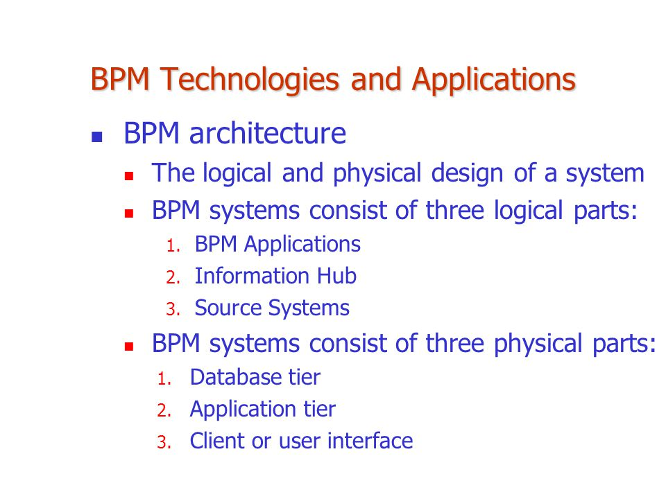 BPM Technologies and Applications