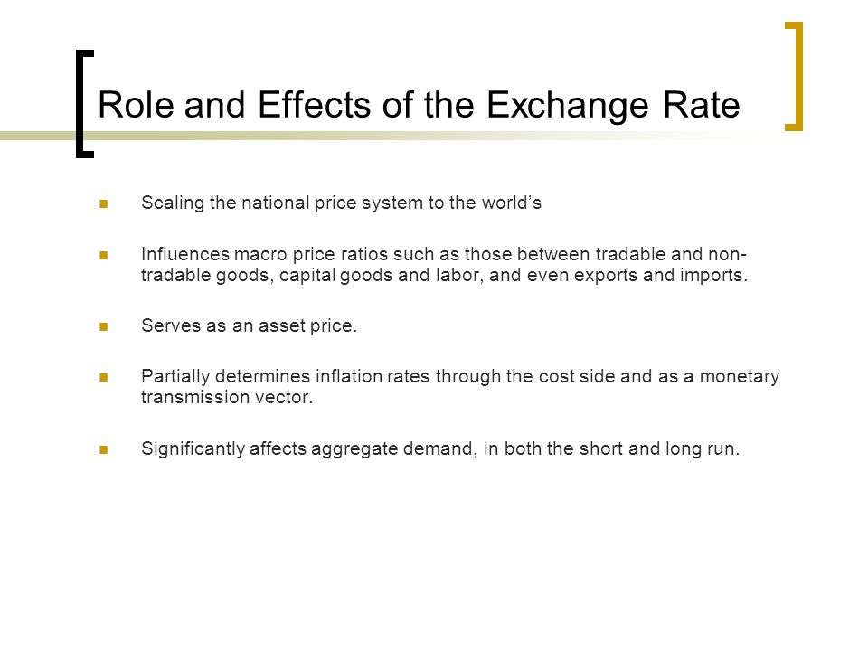 Role and Effects of the Exchange Rate
