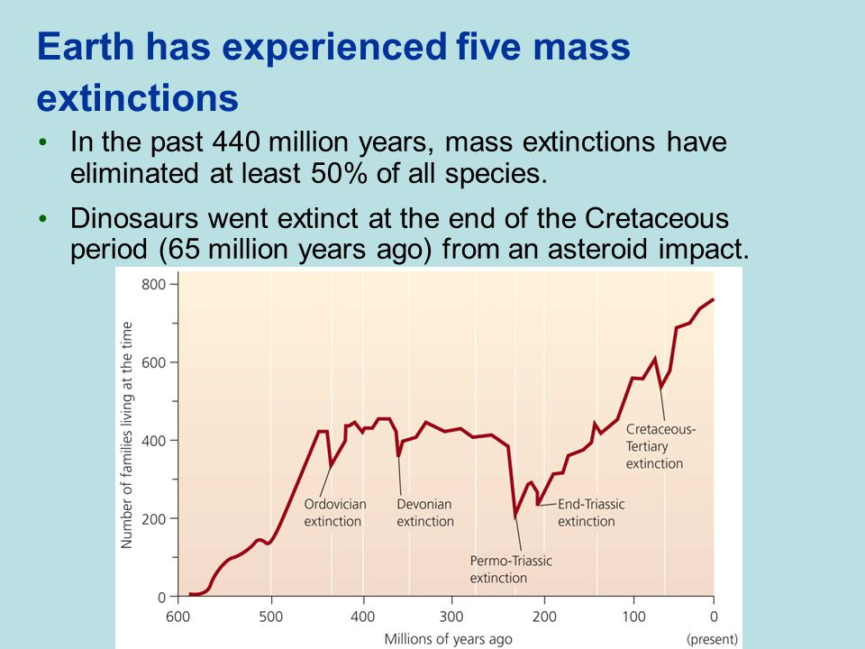 Earth has experienced five mass extinctions
