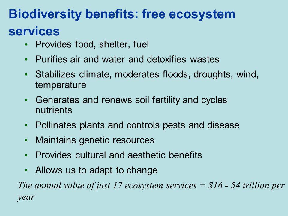 Biodiversity benefits: free ecosystem services