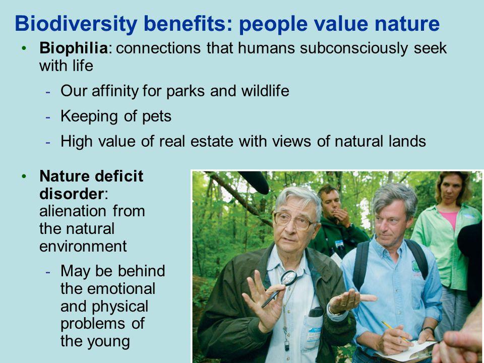 Biodiversity benefits: people value nature