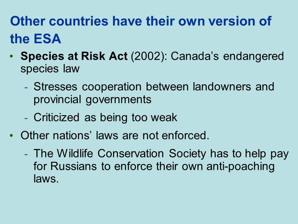 Other countries have their own version of the ESA