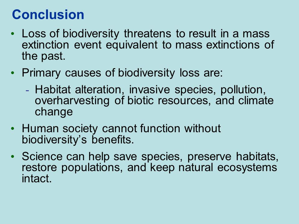 Conclusion Loss of biodiversity threatens to result in a mass extinction event equivalent to mass extinctions of the past.