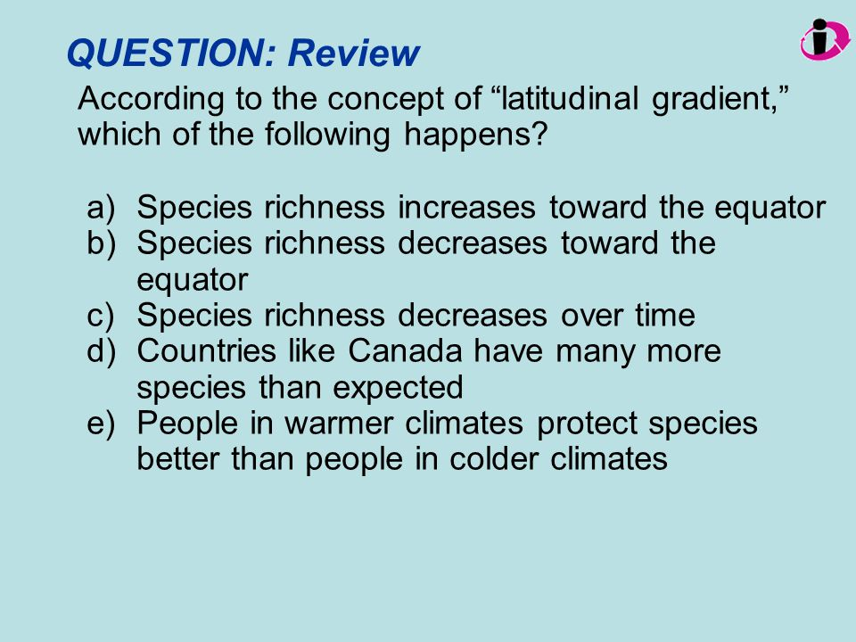 QUESTION: Review Species richness increases toward the equator