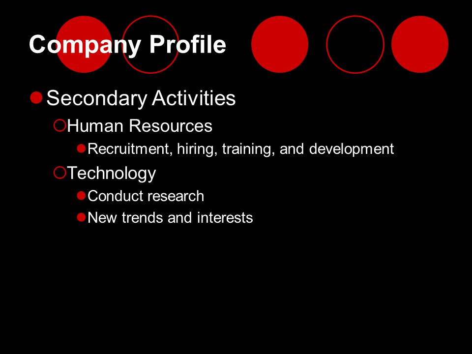 Company Profile Secondary Activities Human Resources Technology