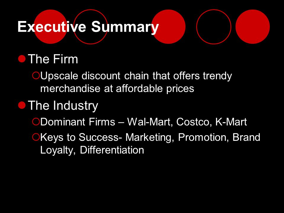 Executive Summary The Firm The Industry