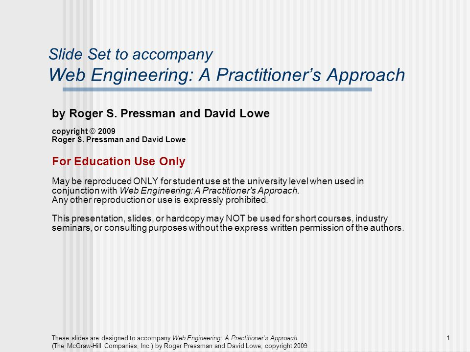 Slide Set to accompany Web Engineering: A Practitioner's Approach