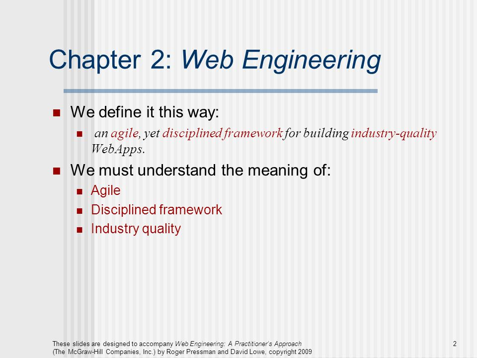 Chapter 2: Web Engineering