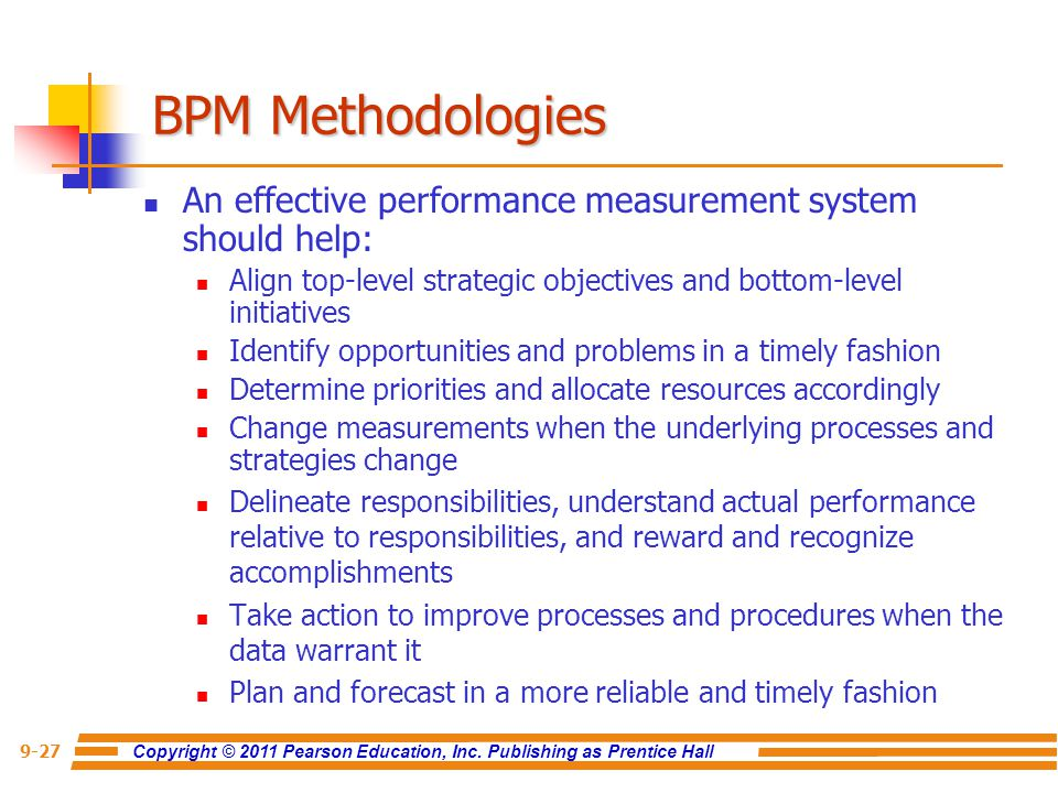 BPM Methodologies An effective performance measurement system should help: Align top-level strategic objectives and bottom-level initiatives.