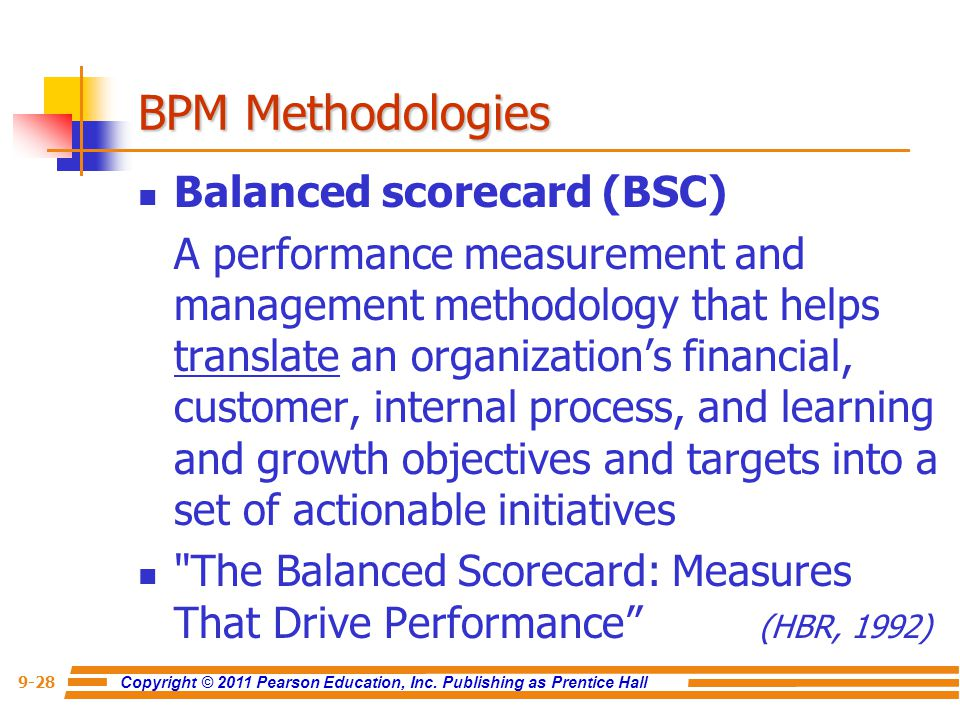 BPM Methodologies Balanced scorecard (BSC)