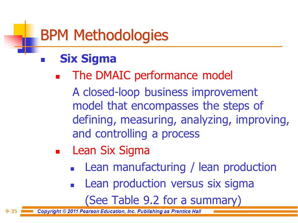 BPM Methodologies Six Sigma The DMAIC performance model